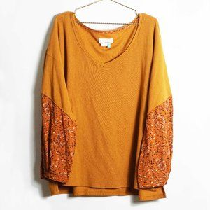 Anthropologie Rust V Neck Long Sleeve Thermal Top